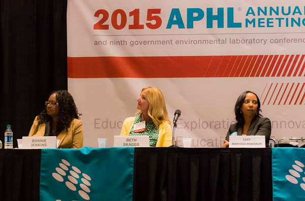 Ambassador Bonnie Jenkins, US Dept of State; Beth Skaggs, CDC; and Lucy Maryogo-Robinson, APHL discuss laboratory contributions to the Global Health Security Agenda.