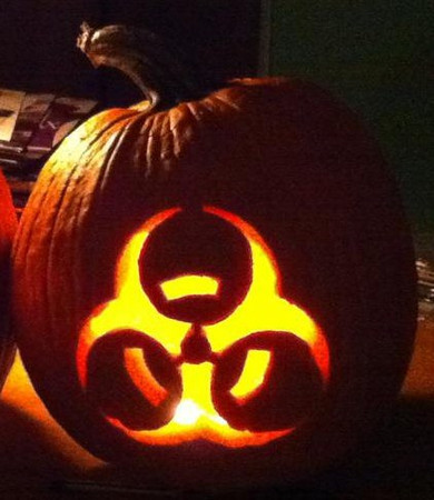 Chris Chadwick's Halloween pumpkin -- yes, he *really* made this