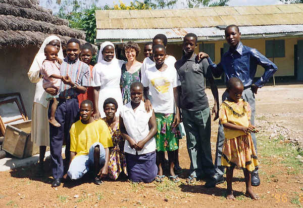 Jody DeVoll with friends in Orungo, Uganda, 1996