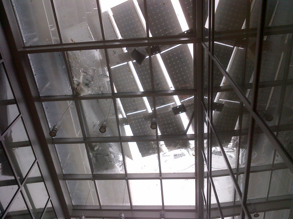 Glass atrium damaged by Superstorm Sandy