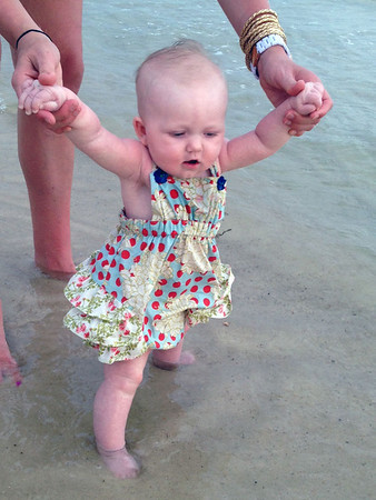 Caroline's first trip to the beach